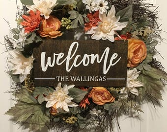 Welcome Sign | Personalized Wreath Sign | Last name sign | Personalized Sign | Personalized Fall Decor |