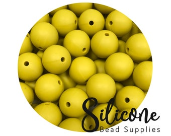 15mm - Lots of 5+ Mustard Round Silicone Beads, Silicone Teething Beads, 100% Food Grade Silicone Beads, BPA Free, Silicone Loose Bead