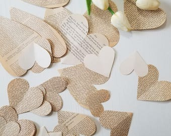 Vintage Book Paper Hearts for DIY Garland Valentine's Day Decor FREE SHIPPING
