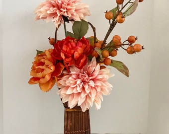 Silk Foral Arrangemt with Orange, Pink and Gold Flowers in Wicker Basket Vase