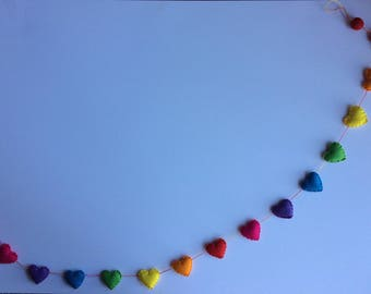 Felt mini heart rainbow garland