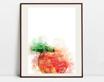 Peach Watercolor Art Print, Peach Illustration, Kitchen Wall art, Kitchen Wall Decor, Fruit Print
