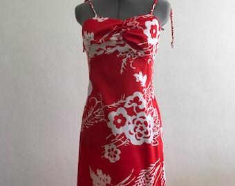 Hawain red Maxi dress