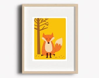 Fox Art Print - Home Decor - Woodland Nursery - Fox Print - Wall Art