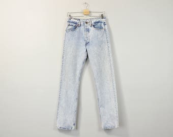 Acid Wash Levis Jeans, Vintage Levi Jeans, High Waisted Jeans, 90s Thrashed Jeans, Worn Distressed Levi 501 Jeans, Boyfriend Jeans W30 / W31