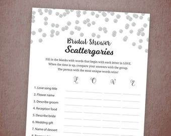 Bridal Shower Scattergories Printable, Silver Confetti Wedding Shower, Bridal Games, Scattergory Game, Bachelorette Party Games, A003