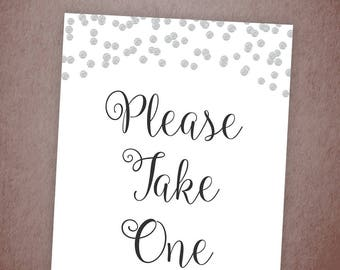 Please Take One Sign, Wedding Favor Sign, Please Take One Silver Glitter, Wedding Sign, Bridal Shower Games Download, Printable Decor , A003