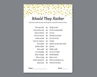 Would They Rather, Gold Confetti Bridal Showers, Would She Rather, Wedding Shower Game, Who knows the Bride Best, Instant Download, A015