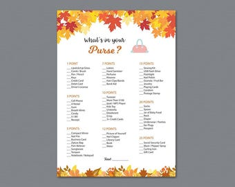 Whats in your Purse Game, Fall Autumn Bridal Shower Games Printable, Purse Hunt Game, Purse Raid, Glitter, Wedding Shower, Bag Hunt, A021