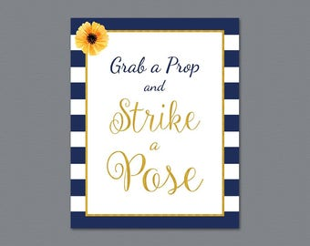 Grab a Prop and Strike a Pose Sign, Photo Booth Sign, Navy Blue Kate Spade, Wedding Sign, Instant Download, Selfie Station Signage, A027