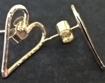 Handmade Solid Sterling Silver Hammered Dappled Love Heart Stud Earrings