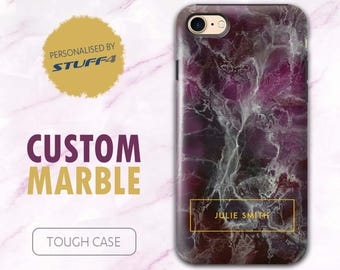 Personalised Custom Marble Phone Case for Apple iPhone 4/5/6/7 Plus SE Smartphone/Purple & Gold Stamp/Personalized Tough Cover Name/Initial
