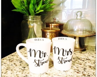 Mr. & Mrs. Mugs, Wedding Gift, Bridal Shower Gift, Anniversary Gift, Mugs with Sayings, Engagement Gift, Bride and Groom Mugs, Quote Mugs
