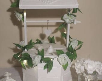 Wedding Wishing Well with decoration. Wedding card box.