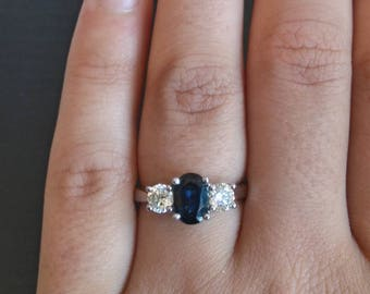 18 ct white gold 3 stone sapphire and diamond ring