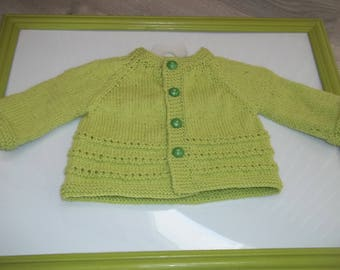 VEST TOPDOWN 0/3 month hand knit