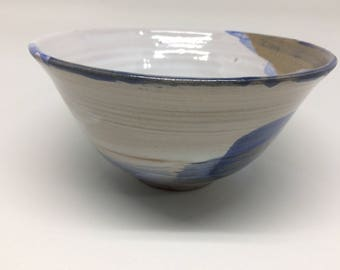 elegant bowl,ceramic bowl, blue mix white bowl, salad bowl, stew bowl, hand bowl, homemade gift, wedding gift