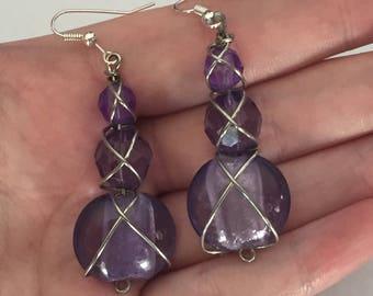 Purple beaded silver wire wrapped earrings