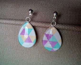 Pastel triangles BOG1 drops earrings