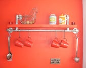 Kitchen Shelf with Hanging Rail made from Reclaimed Scaffold Boards and Galvanised Pipe