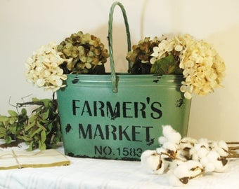 Farmers Market Fall Bucket, Autumn decor, Fall decor, Metal bucket, Green decor, Tin Bucket, Painted pail, Farmhouse bucket, Kitchen Decor