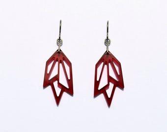 Acrylic earrings, stylized leaf, titanium hooks
