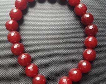 Wrist Mala 21 Bead Ajustable Knot Crystal Healing Prayer Red Ruby