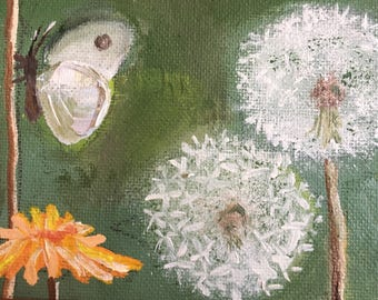 Butterfly Dandellion Painting / custom Oil Painting / Dandelion Oil Painting