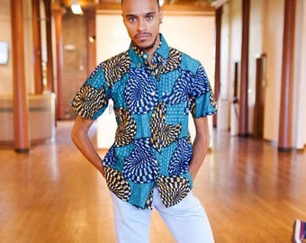 Niri Classic Short Sleeve Men's Button Down Dress Shirt.