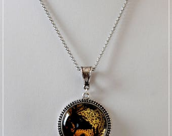 Black and gold glass cabochon necklace