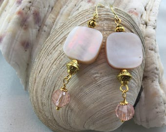 Crystal Pink Shell Drop Earring with Yellow Gold Accents