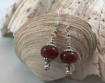 Red Agate Czech Crystal Dangle/Drop Earrings .925 Silver Ear Wires