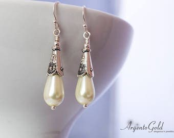 Pearl Earrings, Sterling Silver, Tudor Earrings, Edwardian Jewellery, Tudor Jewellery, Wedding Gift, Elegant Earrings, Handmade UK, Pearls