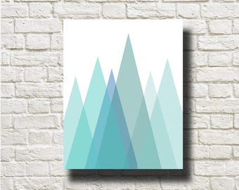 Blue Grey Geometric Mountains Printable Instant Download PRINT Wall Art Home Decor Wall Hanging GRG012