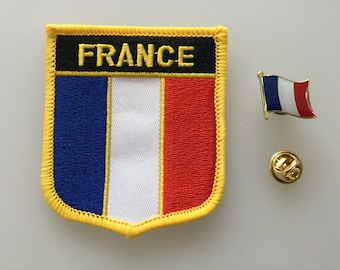 France Shield Country Flag Embroidered Patch and Pin Badge Set