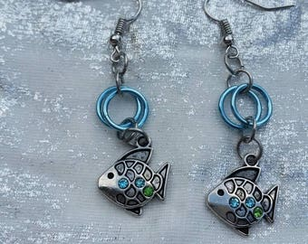 Blue and Green Chain Mail Dangle Earrings
