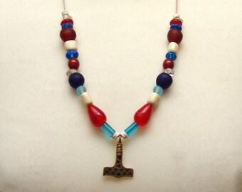 Chain, Thor-Hammer, Mjöllnir, amulet, glass beads, Viking, Replica, Reenact, medieval, Larp