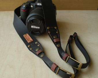 Personalized Leather Camera strap Leather Camera strap Monogram Camera strap DSLR camera strap Black Dark Brown Leather Camera strap