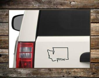 Pacific Northwest Decal / 12 colors / PNW Sticker / Nature Decals / Laptop Decals / Car Decals / Computer Decals / Window Decals