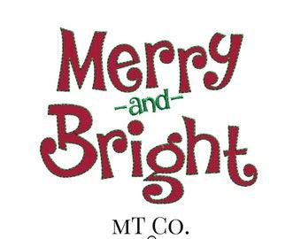 Merry and Bright Applique Design 5x7 6x10