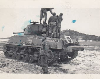 Vintage Military Tank Photo Soldiers Fighting Found Black & White Paper Art Ephemera Snapshot Old Picture Vernacular Mood Interior Design