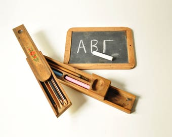 1940's Wooden Pencil Case With Small Blackboard - Antique School Accessories