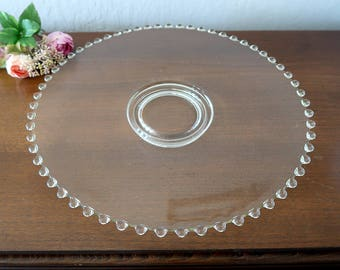 Vintage Candlewick style glass platter / large serving tray / Cake stand Vintage Imperial Candlewick glass style glassware