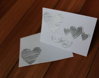 Hearts and Swirl Blank Inside Card Set of 12 - Heat Embossed Silver on White, Blank Inside
