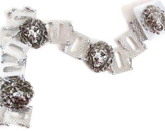 Retro Sliver Aluminum Lions Head Link Belt
