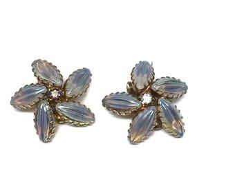 Mid Century Opaline Glass Molded Ribbed Navette Clip On Earrings