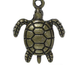 Set of 10 Navy color turtle charms bronze (T18)