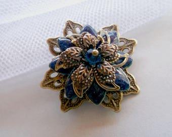 Galaxy blue brooch bronze flower brooch filigree bronze brooch painted flower brooch gift for mother wife gift brooch gift round brooch