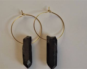 Raw Black Crystal Earrings - Quartz Crystal Hoop Earrings - Crystal Dangle Earrings - Gold Hoop Earrings - Gun Black Quartz Hoops