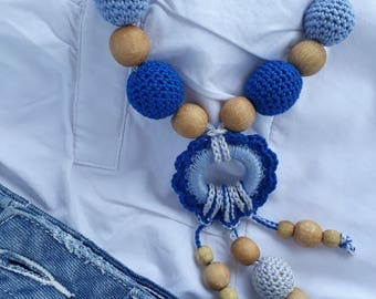 Blue necklace Crochet breastfeeding nursing teething necklace for moms baby shower gift for newborn ready to ship gift for mom to be